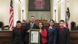 Dixon High School Migrant Education Debate Team with Assemblymember Aguiar-Curry