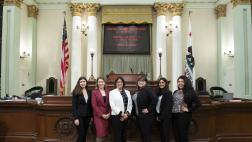 Assemblymember Aguiar-Curry on the Floor with her district office interns