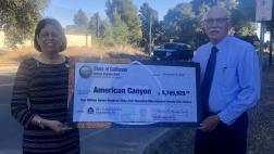 Assemblymember Aguiar-Curry presents check for $5,765,928 to Mayor Leon Garcia of American Canyon