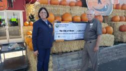 Assemblymember Aguiar-Curry presents check for $5,409,377 to Dixon Vice Mayor Ted Hickman