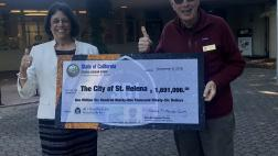 Assemblymember Aguiar-Curry presents check for $1,691,096 to Mayor Alan Galbraith of St. Helena