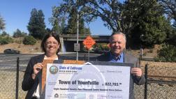 Assemblymember Aguiar-Curry presents check for $822,703 to Mayor John Dunbar of Yountville
